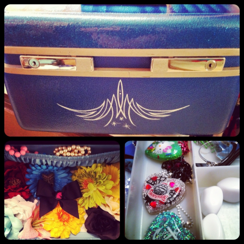 My vintage train case! It goes with me to photoshoots and holds my lovely goodies from Essem Design and Lila-Jo!!