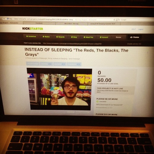 Getting started on setting up our KickStarter project. #insteadofsleeping #redblackgray #kickstarter #woodysux  (Taken with instagram)