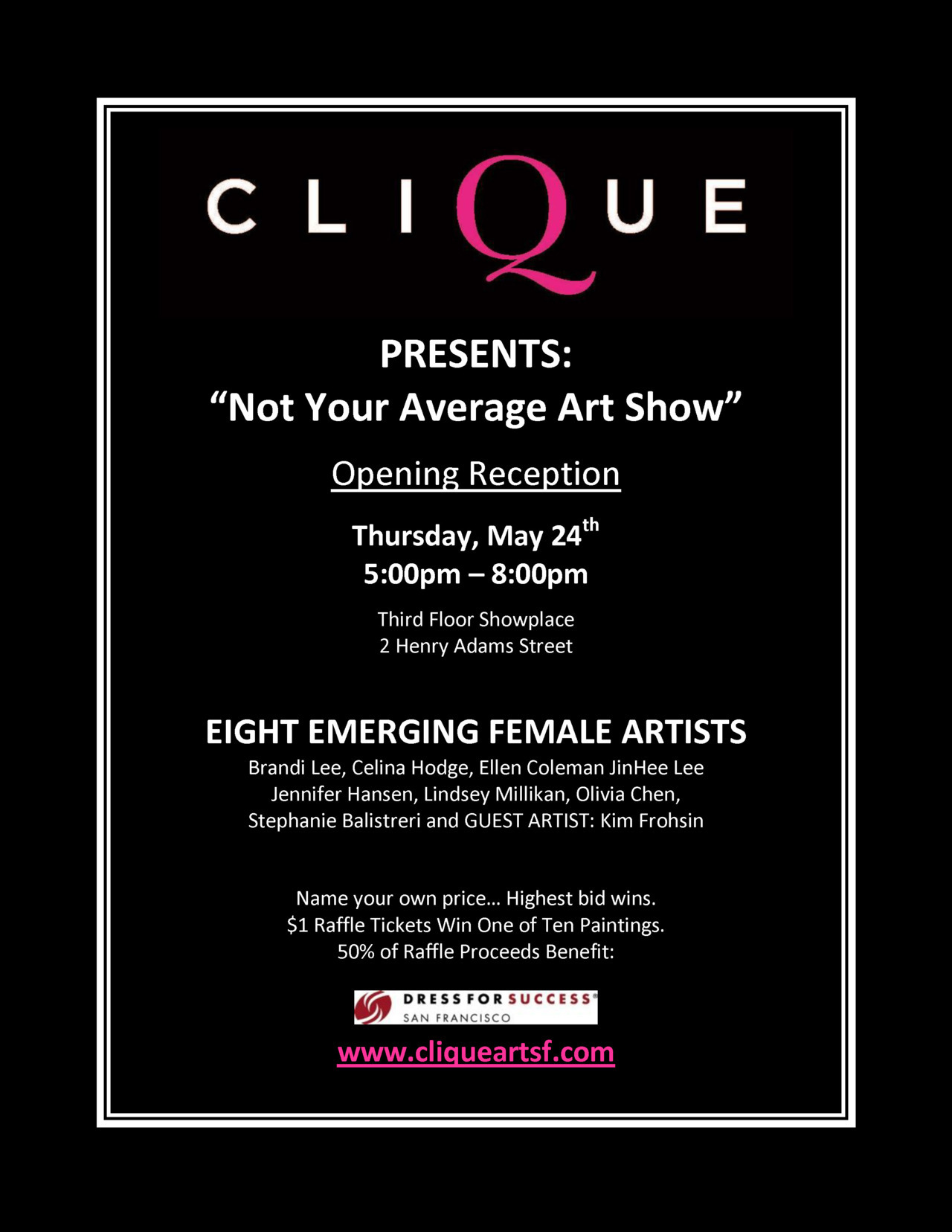 "Tonight Clique (an group of emerging artists) presents ""Not Your Average Art Show"" in which there is no set price for the artwork for sale. The gallery functions in a ""silent auction"" style where buyers can pick up some amazing art at incredible prices. We're most definitely stopping by!For more information visit the FB event page: http://www.facebook.com/events/349057261821759/"