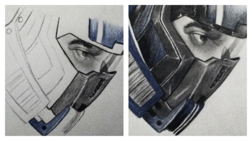blackholesandrevelationss:  Here's the finished head drawing of Kaidan Alenko! (sorry for the crappy iPod pic quality) But other than that, I'm pleased with it! :D