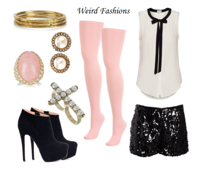 weirdfashions:  Links: Top, Shorts, Tights, Shoes, Cross Ring, Pink Ring, Earrings, Bangles