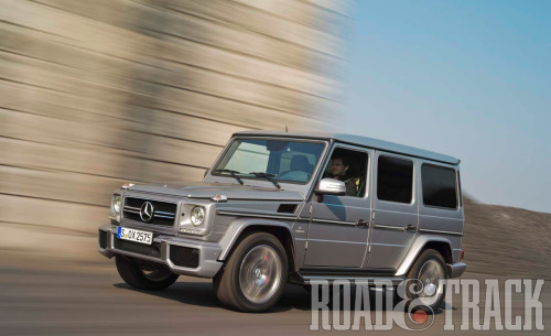 The boxy 2013 Mercedes-Benz G63 AMG now has a twin-turbo 5.5-liter V-8 to get the 5721-lbs beast to 60 mph in 5.3 seconds. (Source: Road & Track)