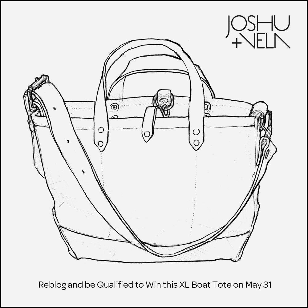 Win a Joshu+Vela XL Boat Tote. To qualify, reblog this post on tumblr and you'll be entered for a chance to win. Winner will be picked at random May 31, 2012