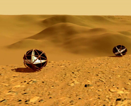 "discoverynews:  Mars Tumbleweed Rovers Will Rock, Bounce and Roll on Mars What if you could reduce a robotic Mars rover down to a simple ball that gets propelled across the Martian plains under wind power alone? If you were on the Red Planet's surface, the object would most likely look like a beachball gone wild, but the ""tumbleweed"" rover design is getting some serious attention from NASA as an unorthodox way to reconnoiter Mars. But as the drivers of rover Opportunity can attest, Mars is covered in rocks and obstacles that require some pretty mean navigation skills. keep reading"