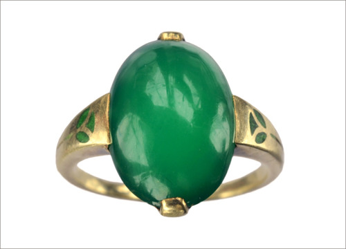 eriebasin:  A very unusual c1900 Arts & Crafts chrysoprase ring (in the online store)