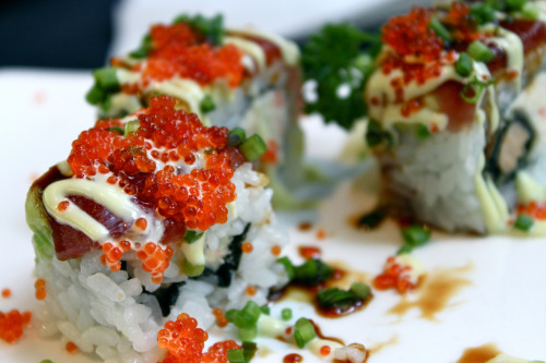 f-word:  sexy sushi roll with tuna, tobiko, japanese mayonnaise, green onions, avocado & soy sauce photo by songxiang