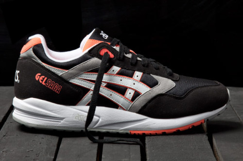 Asics Gel Saga - Orange Blaze a look at the Black colourway from the Asics Orange Blaze pack. Black suede/mesh/leather with White/Orange Blaze accents, on a White midsole. very clean look with the Orange Blaze accents, not too overdone.  click here for more pics  Related articles Asics Gel Lyte III 'Orange Blaze' (sneakernews.com)