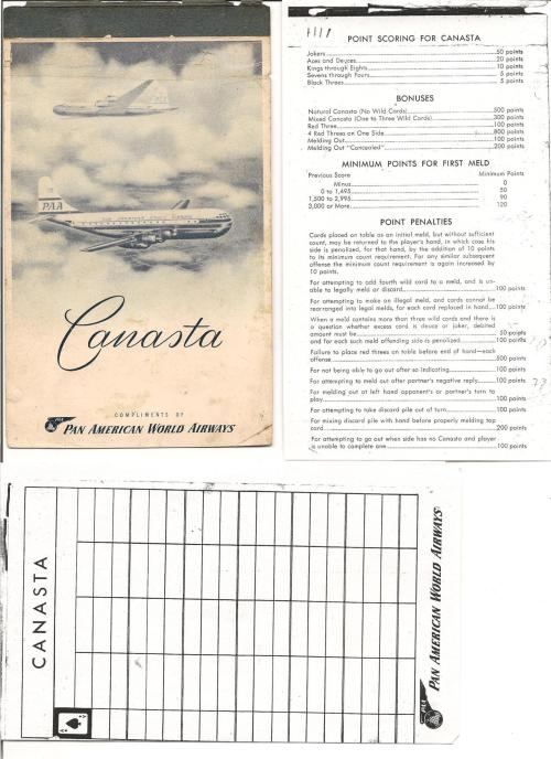 Detail of Canasta side of Bridge/Canasta premium from Pan Am