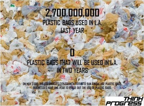 think-progress:  Plastic bags in L.A.: 2012 (2.7 billion), 2014 (ZERO) Source   ngl I hope this becomes a nationwide trend.