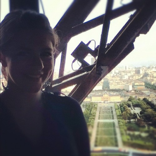 Dinner at the top of the Eiffel. Not a bad way to say my goodbyes to Paris.  (Taken with instagram)