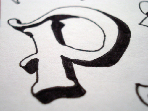 'P' Typography practice from sketchbook.