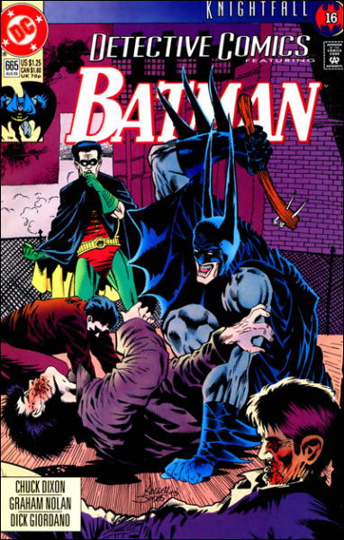 "This is one of my favourite Batman comic book covers. It's from the devilishly dark mind of artist Kelley Jones. He drew some absolutely brilliant covers during the Knightfall saga and I may post a few more of my favourites in due course. I love the demented gay abandon of ""Batman"" as he viciously takes a wooden club (replete with two pointy nails) to a bad guy's face. A visibly shocked Robin surveys the scene unfolding before him and can do nothing but watch the carnage unfold. I suppose Tim Drake's Robin is thinking ""It was never like this with the other guy!"". The 'other guy' being Bruce Wayne who is, at this stage of proceedings of the Knightfall saga, freshly broken-backed at the hands of Bane, whilst the new guy (Jean Paul Valley) is clearly relishing his role as the protector punisher of Gotham. As a 10-year-old coming across this comic book on a crowded shelf in my local newsagent, I was immediately transfixed by the above violently visceral scene, and I remember thinking to myself ""Batman isn't meant to do that!"". Of course this was all before I became a regular, avid reader of the Batman comics, and way before I had any idea about the events of Knightfall. Suffice to say I hoovered up any and all back issues I could get my hands on in order to understand why the Caped Crusader had gone club-happy. Clearly this particular cover isn't the most visually stylish or as accomplished as some of the art Kelley Jones produced during his stint pencilling the main Batman title, or even as visually arresting as some of the great covers he produced for No Man's Land, but for sentimental reasons this cover stands out in my mind above any other. It's also one of the reasons I'll always have a bit of a soft spot for Jean Paul Valley's Batman. The purists may baulk at his stint under the cape and cowl, but I loved the mind-space the character of Jean Paul Valley occupied, and his desire to prove himself, at any cost, in the role of the Batman. He also wore a wonderfully radical Bat-suit which gradually got more awesome (or deadly, depending on your perspective) as the entire Knightfall saga reached its conclusion. Sadly Jean Paul's descent into madness kind of put a downer on proceedings(!) Dangerously sharp Bat-Gauntlets FTW!"