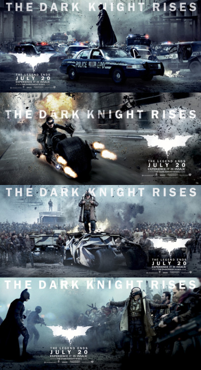 totalfilm:  Four epic new banners for The Dark Knight Rises The Dark Knight Rises has been pumping out some incredible promo material, such as six character posters featuring Batman, Catwoman and Bane, and there are now four new widescreen banners to check out.What's most impressive about this latest round of one-sheets is undoubtedly the scale. Follow the link to see them in hi-res…  Oh damn, that's cool.