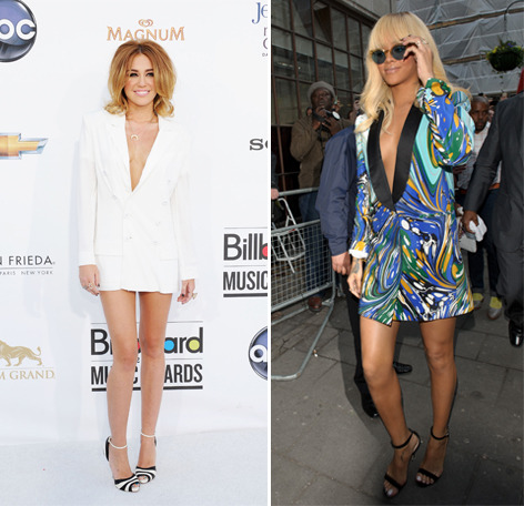 Fashion faceoff! Miley Cyrus and Rihanna were both spotted wearing blazers sans pants. Who wore the tuxedo-inspired dress best? Give us your vote here »