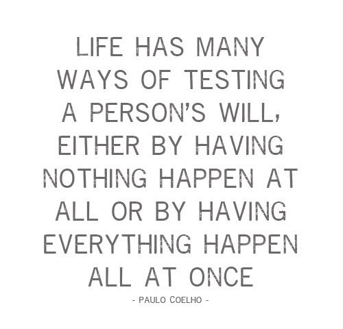 Life has many ways of testing a person's will - Paulo Coelho.