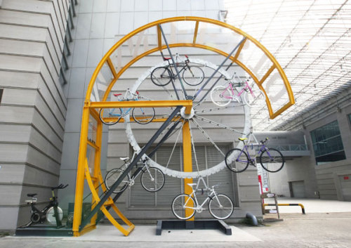 Bike-powered bike storage. Meta. Via