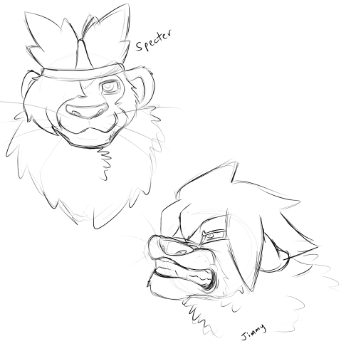 ukkiaressa:  Ape Escape tlk sketches I did this morning. Specter is all chill and Jimmy so mad. Why you gotta be that way Jimmy? Hater.