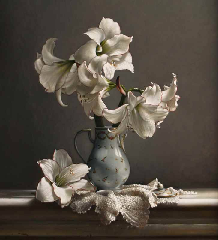 colourthysoul:  Larry P. Preston - Amaryllis in Chocolate Pot