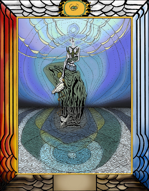 Queen of Cups edited and Colored on Flickr.Queen of Cups edited and Colored Edited by Stuart Harris and Stephen Pierce, Loosely based on this description, The Queen of Cups represents the watery part of Water, its power of reception and reflection. In the Zodiac it rules from the 21St degree of Gemini to the 20th degree of Cancer Her image is of extreme purity and beauty, with infinite subtlety; to see the Truth of her is hardly possible, for she reflects the nature of the observer in great perfection. She is represented as enthroned upon still water. In her hand she bears a shell-like cup, from which issues a crayfish, and she bears also the Lotus of Isis, of the Great Mother. She is robed in, and veiled by, endless curves of light, and the sea upon which she is enthroned conveys the almost unbroken images of the image which she represents. The characteristics associated with this card are principally dreaminess, illusion and tranquillity. She is the perfect agent and patient, able to receive and transmit everything without herself being affected thereby. If ill-dignified, all these qualities are degraded. Everything that passes through her is refracted and distorted. But, speaking generally, her characteristics depend mostly upon the influences which affect her. In the Yi King, the watery part of Water is represented by the 8th hexagram, Tui. The commentary is as colourless as the card; it consists of mild exhortations on the subject of pleasure. It may really be said that, normally, people of this type have no character at all of their own, unless it can be called a characteristic to be at the disposition of every impact or impression.  There is, however, a hint (line 6) that the chief pleasure of people of this type is to lead and attract others. Such are accordingly (often enough) exceedingly popular.