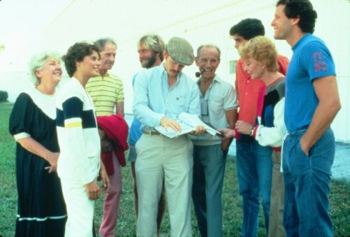 "Director Ron Howard goes over the script with members of the cast of his 1985 film ""Cocoon"" including Maureen Stapleton, Tahnee Welch, Don Ameche, Hume Cronyn and Steve Guttenberg. Click the pic to watch the original theatrical trailer."