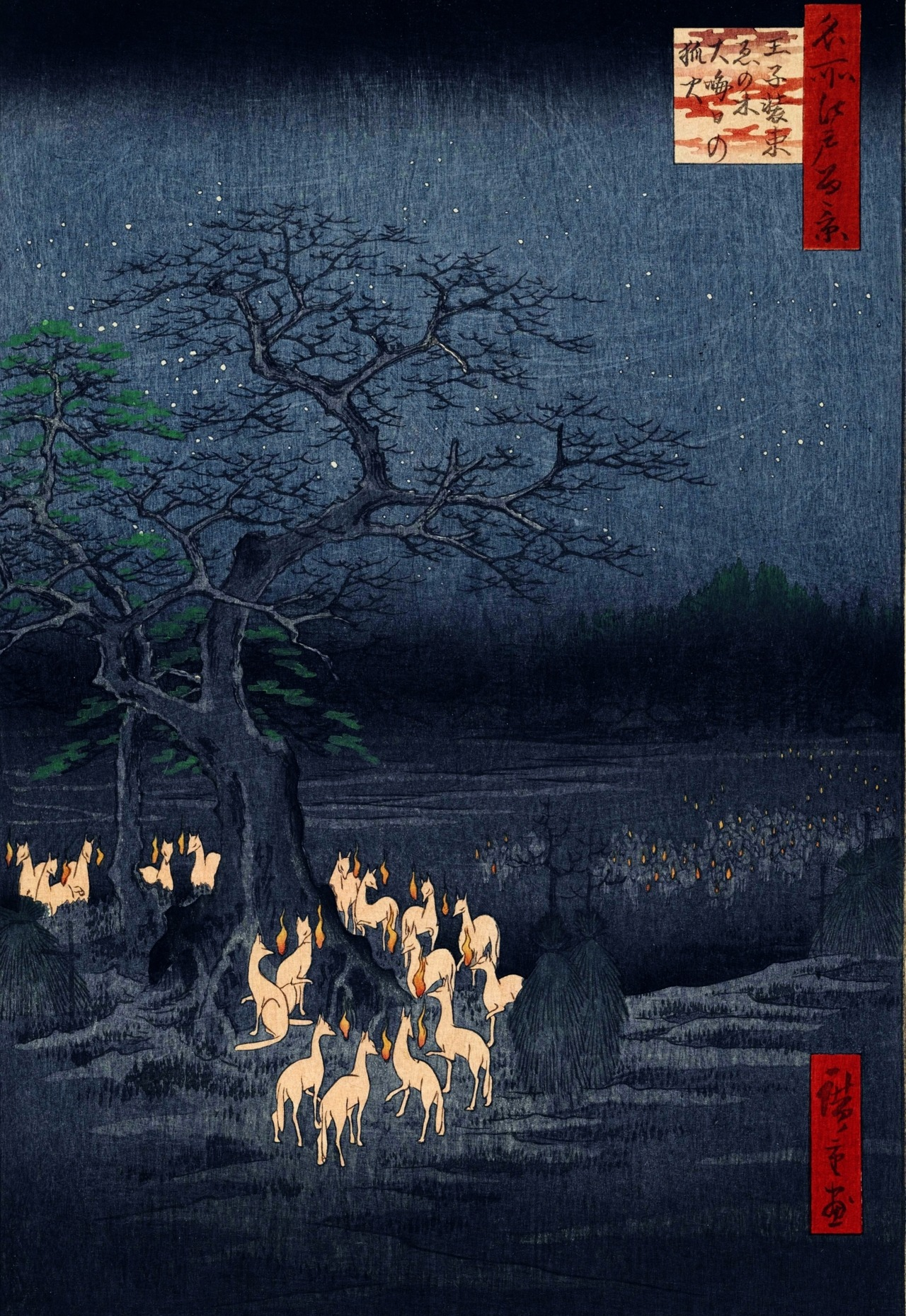 narcissusskisses:  Hiroshige: New Year's Eve foxfires at the changing tree, Oji, 1857