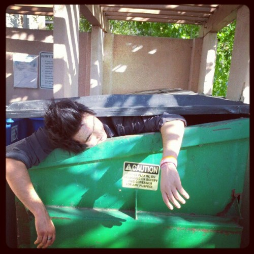 James fell asleep in a dumpster. #wtf  (Taken with instagram)