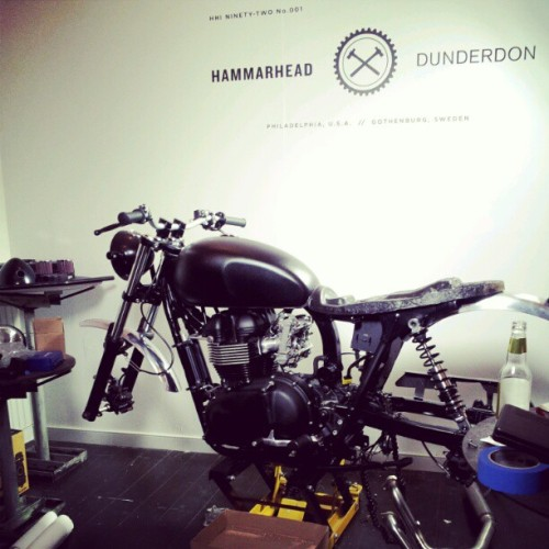 It's coming along! #hammarhead #bike #motorcycle #dunderdon #nyc #soho #sosoho #southsoho  (Taken with Instagram at Dunderdon Workshop, New York)