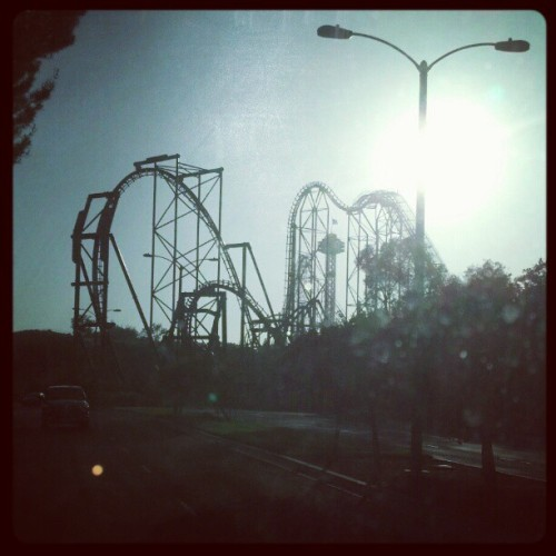 #six #flags #magic #mountain #roller #coaster #x2 Leaving the park… shot from back seat of a school bus. Teaching has its perks ;D (Taken with instagram)