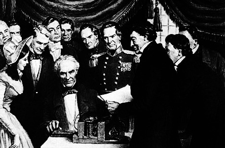 "unhistorical:  May 24, 1844: Samuel Morse opens a telegraph line connecting Washington D.C. and Baltimore.  Samuel Morse developed the electric telegraph and his eponymous code in 1836; by 1843, the U.S. government had appropriated to him $30,000 for the construction of an experimental 61 km telegraph line that would run from Washington D.C. to Baltimore - this line was completed in early 1844. It officially opened on May 24, 1844, when Morse sent the words ""What hath God wrought"" (a biblical quote from the Book of Numbers) from the Capitol to Baltimore. By 1861, telegraph lines spanned the continent, connecting the East and West coasts and rendering most other forms of communication obsolete. Morse's 1844 telegraph transmitted messages at a speed of thirty characters per minute, a speed that is simulated above. As telegraphs became more advanced (and operators more skilled), much higher transmission speeds were made possible as well."