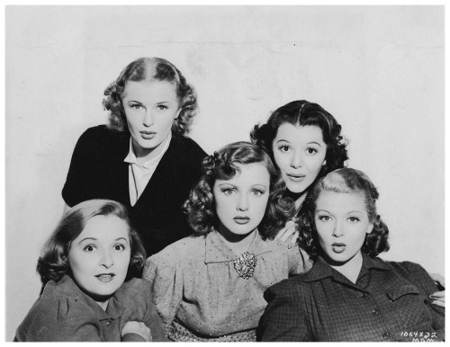 Lana Turner Virginia Grey Ann Rutherford Luise Rainer Genevieve Tobin - publicity portrait from the 1938 film Dramatic School Viennese-born Luise Rainer plays a young Parisian girl who attends an exclusive drama school, working nights at a factory to pay the tuition. Despite the jealousies of her fellow students, Luise allows nothing to discourage her from her goal to become as great an actress as her idol (Gale Sondergaard). The girl wins the coveted role of Joan of Arc in an upcoming play, but the victory has a bitter taste when she realizes she's beaten out her idol for the part. At the end, Luise manages to have both a happy career and a successful marriage, even though her friends (and enemies) insist that such a combination is impossible. Dramatic School is a film buff's banquet; virtually every bit player in the cast (Ann Rutherford, Lana Turner, Dick Haymes, Hans Conried, etc.) later graduated to show-biz prominence.