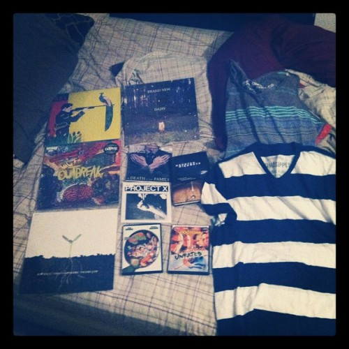 A very happy birthday indeed. #vinyl #shirts #dvds books (Taken with Instagram at Fortress of Blanketudes)