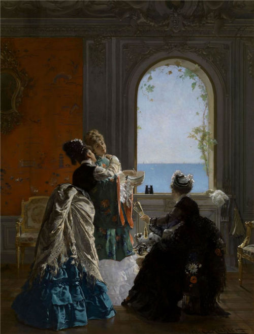 Visite à l'accouchée by Edouard Frederic Wilhelm Richter, 1874 Paris, Berko Fine Paintings