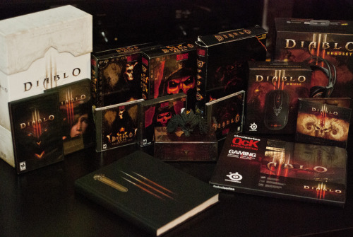 iamrenato:  My Diablo collection. It's been a long time since I've enjoyed a game as much as I have Diablo III. I can tell you that the SteelSeries headset and mouse are pretty sweet. They're well built and feel great.