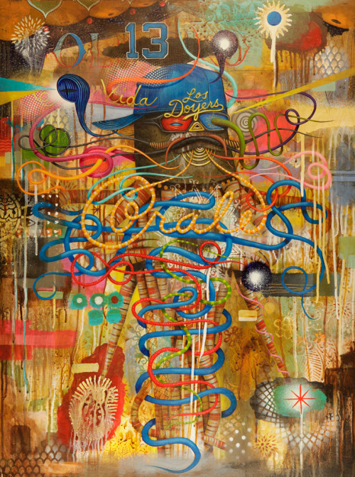 "Jaime Zacarias aka GERMS ""Fasho"" @ Luz De Jesus Gallery June 1 - July 1, 2012 Opening Reception: Friday, June 1st; 8-11 PM  South Los Angeles native Jaime Zacarias aka GERMS is seemingly infected with an innate ability to channel the spirits of our surrealist predecessors, slapping our eyeballs with his grotesque yet amusing iconography and ameoba like characters while simultaneously referencing post-Chicano culture and imagery. He is known for cleverly stylized Luchador masks given life by their protruding tentacles, surrounded by floating amoebas that playfully flirt with their viewers' imaginations.   Says GERMS, ""I find myself mesmerized by the seemingly infinite details and borderline infectious behaviors of each character I create, while striving to transform and challenge the traditional interpretations of the icons we all know so well."" The viewer is drawn into a complex layering of cultural references; comfortable and familiar, often times playful and childlike imagery, which may, however, mask the dark and sinister - but which is imbued with an innocent sense of ""anything is possible"" in the World of GERMS.   GERMS most recent body of work is titled ""Fasho,"" a term which affirms an unspoken agreement between the artist and the viewers of his work to look at the familiar as filtered through the mind of GERMS and see something never before seen.""Fasho"", also meaning ""for sure"" is a play on words –giving the artist total freedom to use the space as a playground."