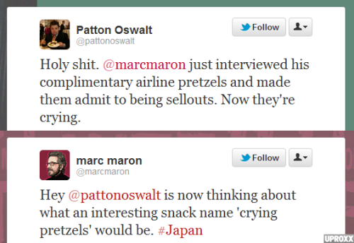 Patton Oswalt And Marc Maron Livetweeted Their Chance Encounter On A Plane