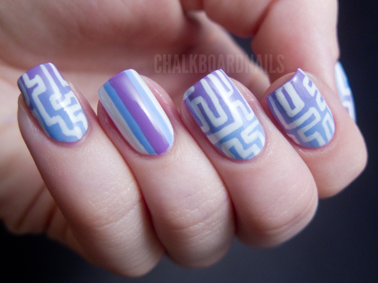 Maze Patterned Gradient Nails Essie Bikini So TeenyEssie Play DateEssie Blanc