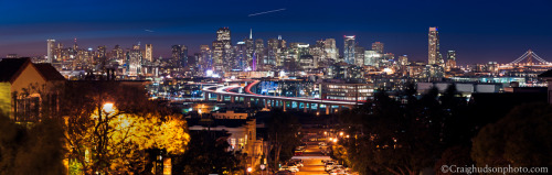 Downtown San Francisco from Potrero Hill, San Francisco, CA  I shot this photo about a half hour after the sun had gone down over the horizon and its last rays faded from Sutro Tower. Ive seen different photos shot from this area, but no panoramics as of yet. I wanted to change that. I hope you enjoy it!  Feel free to like my FB Page and stay updated with my new photos on the daily! -Craig H
