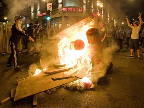 "Canada student protests erupt into political crisis with mass arrests thegrazing:  Canada student protests erupt into political crisis with mass arrests More than 500 people were arrested in Montreal on Wednesday night as protestors defied controversial new law Bill 78 Protests that began in opposition to tuition fees in Canada have exploded into a political crisis with the mass arrest of hundreds of demonstrators amid a backlash against draconian emergency laws. More than 500 people were arrested in a demonstration in Montreal on Wednesday night as protesters defied a controversial new law – Bill 78 – that places restrictions on the right to demonstrate. In Quebec City, police arrested 176 people under the provisions of the new law. Demonstrators have been gathering in Montreal for just over 100 days to oppose tuition increases by the Quebec provincial government. On Tuesday, about 100 people were arrested after organisers say 300,000 people took the streets. But what began as a protest against university fee increases has expanded to a wider movement to oppose Bill 78, which was rushed through by legislators in Quebec in response to the demonstrations. The bill imposes severe restrictions on protests, making it illegal for protesters to gather without having given police eight hours' notice and securing a permit. On Wednesday night, police in Montreal used kettling techniques – officers surrounding groups of protesters and not allowing them in or out of the resulting circle – before conducting a mass arrest. Police immediately declared Wednesday's protest illegal, but allowed it to continue for about four hours before surrounding protesters and making arrests. Martine Desjardins, who represents more than 125,000 students in her role as president of the federation of university students in Quebec, said protesters had been ""peaceful"" on Wednesday's march. ""It makes a lot of people angry,"" she said. ""We fear that tonight, because there will be more demonstrations going on, people will become a bit more violent, because as you saw yesterday, when you are peaceful, you get arrested."" Police arrested 518 people at the demonstration, the largest number detained in a single night so far. Montreal police constable Daniel Fortier, who told reporters rocks were thrown at police, said most of those arrested would face municipal bylaw infractions for being at an illegal assembly. ""I was so so scared,"" said Magdalena, one of those arrested, who asked that her last name not be given. She told the Guardian that she had been taking part in the protests since February, and that Wednesday night's action had actually seemed particularly peaceful. ""This was one of the most jovial I've taken part in,"" she said. ""We were commenting how in good spirits we were, how everyone seemed in such great energy. There were families, children, women with strollers, which you don't necessarily see at the night protests as much,"" she said. Protesters were allowed to walk freely and briskly through Montreal, she added, but that changed when they came to certain intersection, the pace of the march slowing dramatically. ""We didn't think anything of it,"" Magdalena said. ""All of a sudden you just smelled tear gas and could see smoke, and people were running."" Magdalena said people from the front of the march came running back past her and her friend, who had been strolling with their bicycles. ""We turned around and there was already a line of cops behind us. We tried to go on the other side but then there was cops there too. Police officers then tightened their ring around the ""hundreds"" of protesters, she said, not allowing anyone in or out. Magdalena said this situation continued for an hour, before everyone in the group was read their rights. After that, it was another ""hour or two"" before she was detained with plastic handcuffs and led to a city bus. She said they were then kept on the bus for ""hours and hours"" and were not allowed to go to the toilet. ""I have some medical problems, and I wasn't feeling well. I really needed some water and I needed some sugar, and they were really awful, they said they didn't care,"" she said. Magdalena said she was eventually charged with being part of an unlawful assembly, and given a ticket for $634, which she said she planned to contest. Protesters have vowed to continue the nightly protests that began on 14 February when Quebec's liberal provincial government announced it would introduce tuition fee increases over a five-year period. The Quebec government's department of education, leisure and sport says fees would go up by $325 (£200) per year for five years from autumn 2012, a total increase of $1,625. The protests have resulted in a backlash against the Quebec prime minister, Jean Charest, who has refused to back down over the tuition fee increase, and the new law. Students have been boycotting classes over the past three months, arguing that the increases would lead to an increased dropout rate and more debt. In response to the protests, the provincial government rushed through Bill 78 on 18 May. As well as the restrictions on protests, it suspends the current academic term and provides for when and how classes are to resume. Some student organisers said that the introduction of the bill, far from cowing the demonstrations, had actually brought more support for their cause. 'This draconian law has revolted me' Mathieu Murphy-Perron, who has been helping to organise demonstrations against tuition fees since last year, said: ""I would say that I've seen more individuals come out and say: 'You know what? I was neutral on the question of tuition fees, but to bring this draconian law has revolted me and I will take to the streets with you. ""There have been more and more people who recognise that Bill 78 is a breach of the right of freedom of speech, freedom of assembly, freedom of association, and they're not going to have it."" Some legal experts argue that the bill contravenes Canada's charter of rights and freedoms. Montreal constitutional lawyer Julius Grey told the Vancouver Sun that Bill 78 was ""flagrantly unconstitutional"". Opposition has come from the Quebec Bar Association and the Quebec human rights commission. In an appearance on NBC's Saturday Night Live in the US on Saturday night, the Grammy award-winning band Arcade Fire, who come from Montreal, wore symbolic red squares of cloth on their chests during their performance, in support of the protests. Murphy-Perron said the red-hued, four sided shapes were visible ""everywhere you go"" in Montreal, adding that they show the ""inter-generational aspect of this struggle"". ""You see red squares on buildings, on homes, on children, on teenagers, on students, on bluehairs, you see them everywhere."" Desjardins said that she and other student representatives will meet with the government next week in Montreal or Quebec City to discuss tuition fees – the fourth meeting since strikes began. In the meantime the daily marches would continue, she said, adding that protesters were also planning a protest in Ottawa, around 150 miles west of Montreal, on 29 May. Ottawa is in a different province from Montreal, and so safe from the clutches of Bill 78 – introduced only in Quebec. ""It's something to ridicule the bill,"" she said. ""If we are restricted to have a demonstration in Montreal, or in the province, we are going to go outside the province, to Ontario, and have a big demonstration there."""