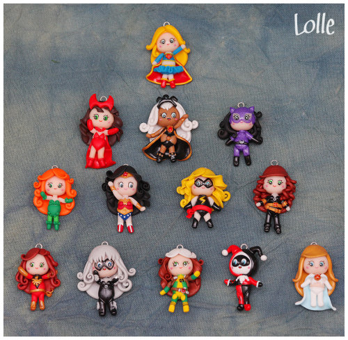 Some adorable hand-made charms of the ladies of Marvel and DC, made by LolleBijoux. Full view over on deviantart: [x]