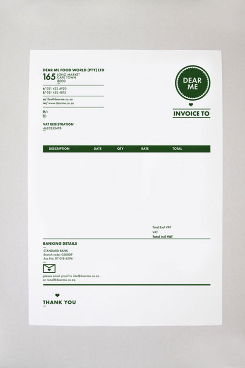 One of the prettiest invoices I've ever seen. Created by Daniel Ting Chong, South Africa.