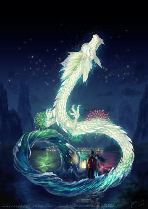 "illustratosphere:  Dragon's Ascend by IngridTan  ""Approx.21 hours in four days (…)That doesn't even include conceptualizing and sketching."""