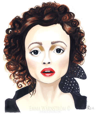 The amazing Helena Bonham Carter <3 Drawn with ProMarkers!