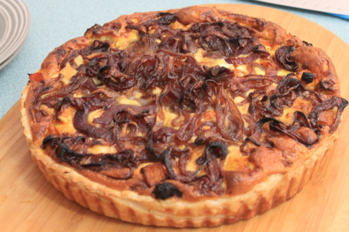 Caramelised red onion quiche with pumpkin, mushroom, ham, sun-dried tomato and feta