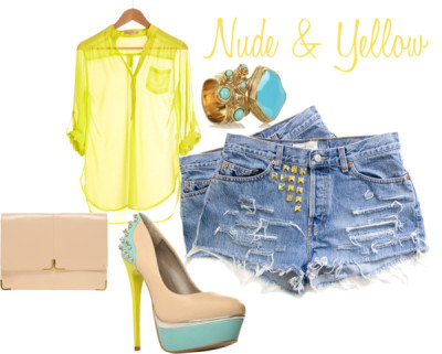 Nude n Yellow by stephjill featuring a button shirt