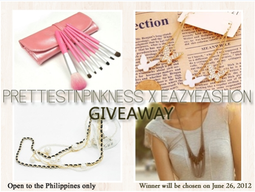 "prettiestinpinkness:  Eazy Fashion is your one-stop wholesale and retail fashion shop. This shop has an affordable source of fashion accessories that are in pulse with the latest fashion trends around the world. They offer wide range of fashion accessories from Asian countries like Korea, Japan and many more. Now, Eazy Fashion will sponsor a giveaway which consists 4 cute accessories that will be given to 1 lucky winner on June 1, 2012.  WINNER WILL BE CHOSEN ON: JUNE 1 || JUNE 1 || JUNE 1 || JUNE 1 - VALID ONLY FOR PHILIPPINE RESIDENTS || VALID ONLY FOR PHILIPPINE RESIDENTS The lucky winner will get: Desire Haze Tassel Necklace Emily 7 Brushes Set with Leather Pouch  Fluttering Butteflies Dangle Earrings  Pearl Leather Long Necklace  MECHANICS:You have to do all of the following in order for your entry to be valid. 1 entry per person only.  Like Eazy Fashion Fanpage on Facebook: http://www.facebook.com/pages/Eazy-Fashion/313885821978735 Add Eazy Fashion Facebook Account:  http://www.facebook.com/eazyfashion Set this as your facebook status: ""I want to win 4 cute accessories from EazyFashion in http://prettiestinpinkness.tumblr.com/""  Tag EazyFashion in your facebook status. Fill up the form:  http://www.emailmeform.com/builder/form/3fkAUydnjRfM9fd00P0c2KI  For winners: The winner should post a picture of herself holding/wearing the item. The winner must respond within 24 hours. Winners will be chosen via random.org. Good luck! ♥ xoxo, JJ"