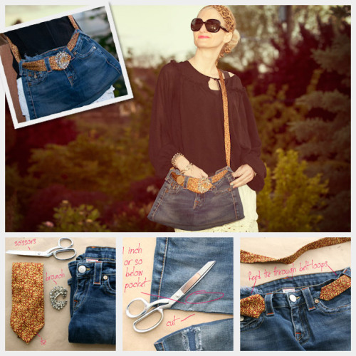 truebluemeandyou:  DIY Recycled Jeans and Neck Tie Bag. Love the added details of a tie and brooch in this tutorial by Trinkets in Bloom here. *One image download.