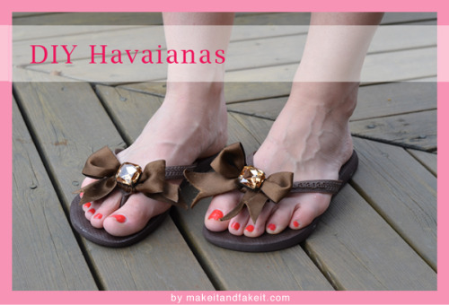 "DIY Embellished Bow Flip Flops Tutorial. Really easy way to change up flip flops. Also think of using different materials for the bow depending where you are going to wear your flip flops! Tutorial from make it & fake here.  My tip for making the perfect ""V"" cut in ribbon or fabric (one of my crappy jobs was as a gift wrapper): fold the tip of the ribbon length wise with the ends meeting on the left side, and from the left side cut the ribbon at a 45 degree angle. The ribbon will fray and you could try fray check but I'd leave the ribbon longer than you want it and just keep cutting it a tiny bit with sharp scissors every time it frays a little."