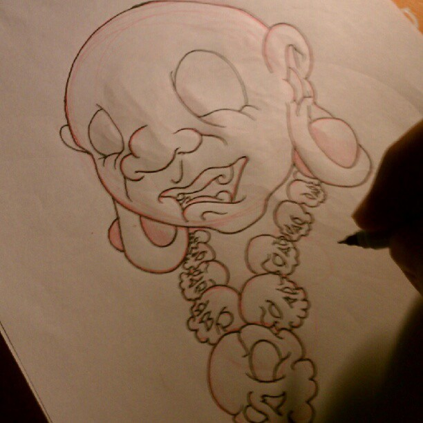 Just Sketching My Own Version Of Laughing Buddha  (Taken with instagram)