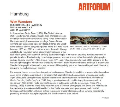 Wim Wenders review, Hamburg, Germany.