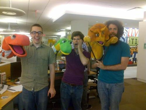 Chat with the stars of Dinosaur Office right now by tweeting using the hashtag #AllNighter
